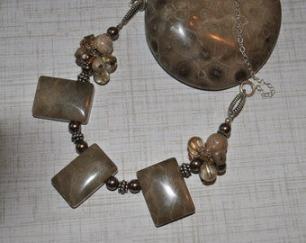Petoskey stone necklace with pearls and crystals, North Michigan necklace, Up North necklace, fossil