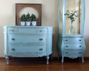 Vintage Italian Florentine Curio Cabinet and Demilune/Bow Front Dresser - Ornate Hand Painted Robin's Egg Blue Furniture Set