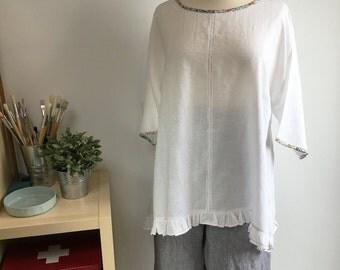 Handmade White Linen Plus Sized Tunic Top
