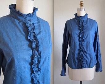 1970s Chambray Eyelet Buttondown Blouse / Denim Ruffle Shirt
