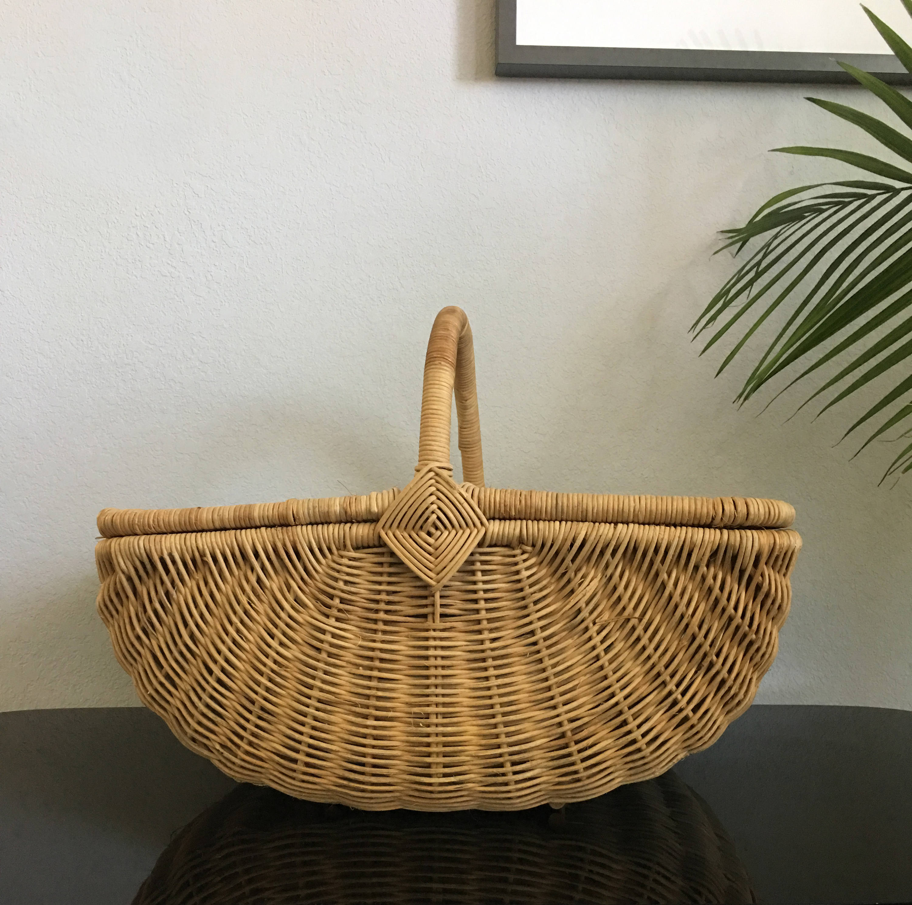 Extra Large Vintage Wicker Picnic Basket Wine Country