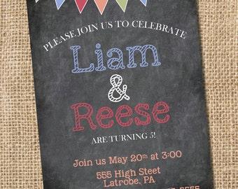 Birthday Banner Birthday Invitation  - PRINTABLE