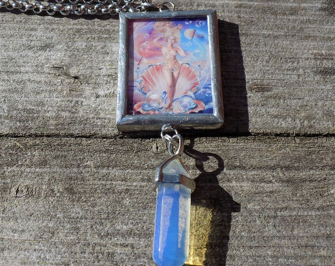 Aphrodite handmade art necklace with crystal