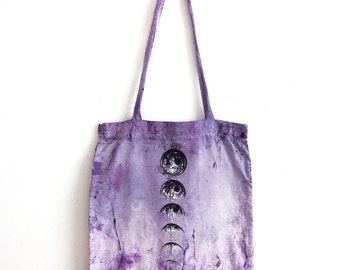 amethyst soul : moon phase tote bag. OOAK. hand dyed & hand painted.