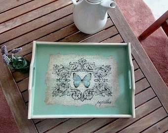 Decorative tray , butterfly decoupage wooden tray , shabby chic tray , french country cottage chic tray