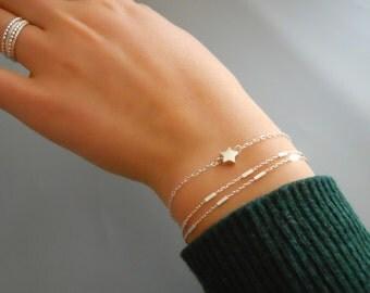 Set of 2 Bracelets, Sterling Silver Bracelet Set, Multistrand Silver Bracelet, Star Bracelet, Heart Bracelet, Silver Chain Bracelet, #548