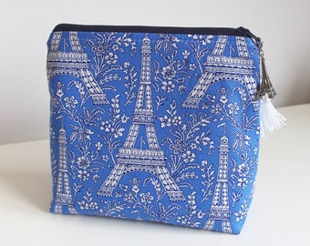 Eiffel Tower Blue Makeup Case Cosmetic Bag