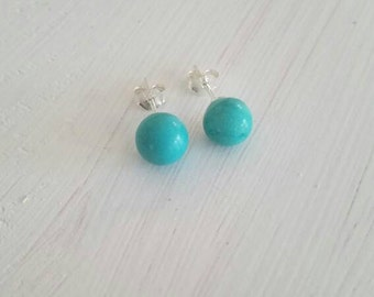 Minimal Everyday Sterling Silver 925 8mm Round Reconstructed Turquoise Simple Stud Comfortable Earrings