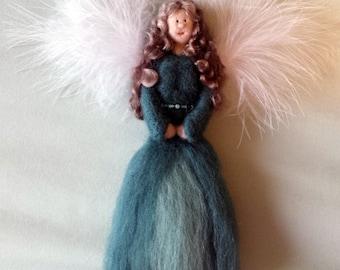 Needle Felted Angel, Christmas Angel, Angel Sculpture, Needle Felt Ornament, 3D Angel, Merino Wool, Unique, Felt Angel, Christmas Decor