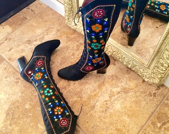Vintage 60s Jerry Edouard Black Canvas Boot 6 1/2 to 7. Mirror Paillette Embroidered Hippie Boho Boot. Almost Famous Jerrold Penny Lane Boot
