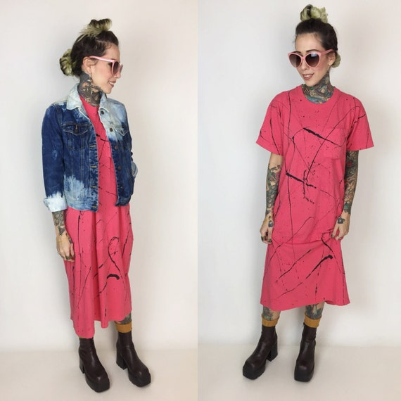 80's Hot Pink Splatter Paint Shirt Dress Long Tee - Short Sleeve Baggy T-shirt Dress - Splatter Paint Black & Pink Funky Grunge Sleep Tee