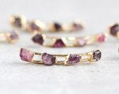 ear climber / ear crawler / ear cuff / raw ruby earrings / ruby jewelry / july birthstone / birthstone earrings / garnet earrings