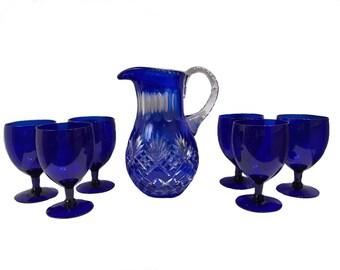 Cobalt Blue Cut Bohemian Crystal Pitcher and Cobalt Blue Glass Goblets