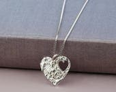 heart necklace  heart jewellery  silver heart necklace  wedding jewellery  gift for mum  bridesmaid jewellery  wedding necklace