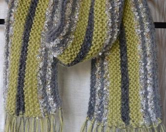 HandKnittedScarf,SilverGreen Grey Scarf, FringedScarf,Mohair Scarf,OneOnlyScarf