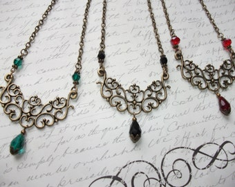 Antique bronze vintage style crystal necklace in red, teal blue green or black
