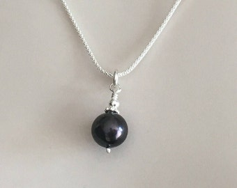 Black Pearl Charm Necklace, Sterling Silver Black Pearl Pendant, Pearl Jewellery Gift For Her, Anniversary Present, 925 Sterling Silver