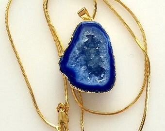 Royal Blue Crystal Druzy Pendant Necklace - 24K Gold Electroplated