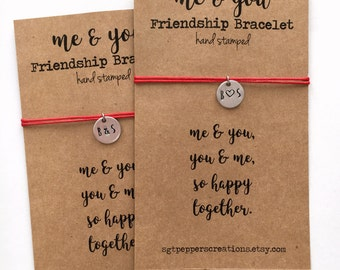 Friendship Bracelet ME & YOU ~ Initial Hand Stamped silver disc ~ Waxed Cotton Cord ~ So Happy Together ~ adjustable ~ choose a color