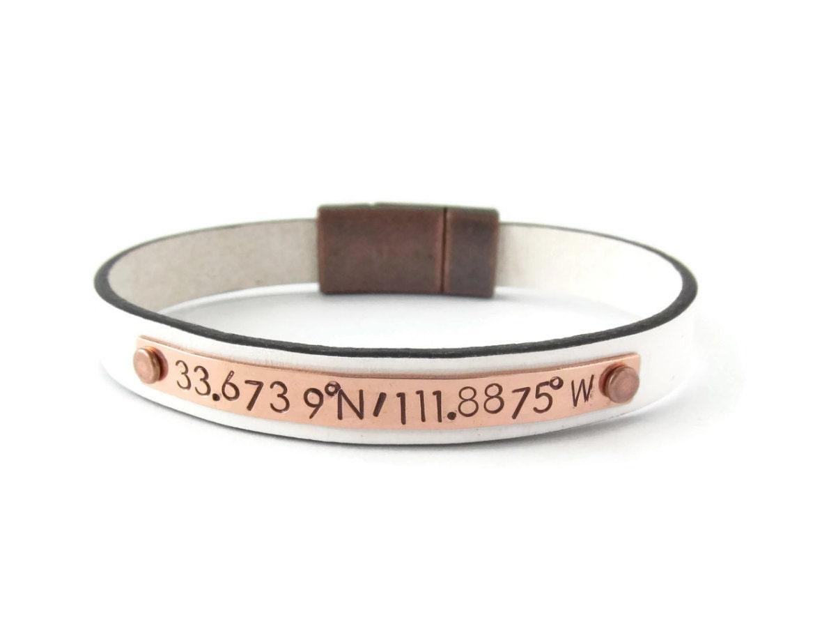 custom coordinates copper leather bracelet personalized