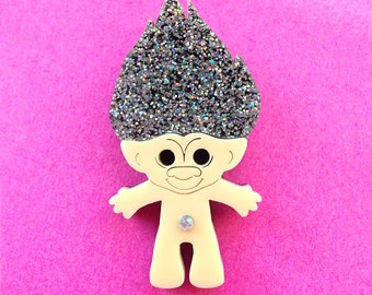 Troll Doll Brooch with Holographic Glitter Hair