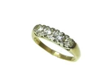 14k Gold Four Stone Diamond Ring Diamond Wedding Band Vintage