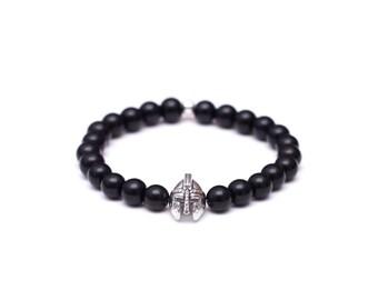 Mens Beaded Bracelet, Mens Black Bracelet, Onyx Bracelet, Stone Bracelet, Mens Bracelet, Stretch Bracelet, Men Jewelry, Gift for Him