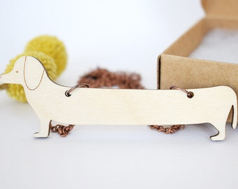 Dachshund necklace, dachshund jewellery, dog necklace, wood jewelry, wooden necklace, funny jewelry, for her, for doglovers, sausage dog