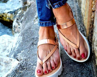 """Leather women Sandal shoes """"Rose Gold Cuff"""", nude sandals,  leather sandals, rose gold sandals, greek sandals, gladiator sandals"""