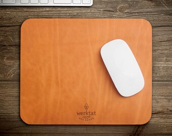 """leather mouse pad mat mousepad vegetable tanned bio nature natural """"Wohltat"""""""