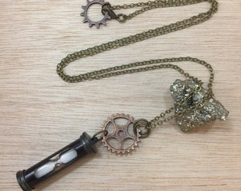 Hourglass Sand Timer Necklace Steampunk Jewelry Apocalyptic Steampunk Gypsy Boho Cosplay Mermaid Treasure FAST Shipping FREE Gift Wrap!