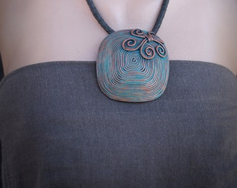 Filigree Pendant Boho Rustic Necklace Filigree Flower Pendant Patina Jewelry Copper & Patina polymer clay Necklace Gift Idea for Womens Gift