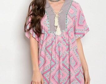 Pink Short Sleeve Dress Printed Tunic Dress Pink V-Neck Dress Blue Printed Dress Casual Summer Dress Babydoll Dress FREE U.S. SHIPPING