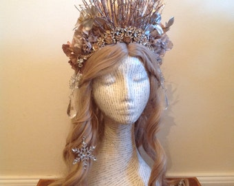 Golden Frost winter crown with twig tiara