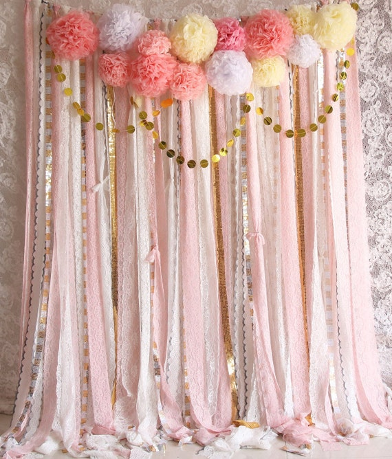 Pink White Lace Pom Poms Flowers Sparkle Fabric Backdrop