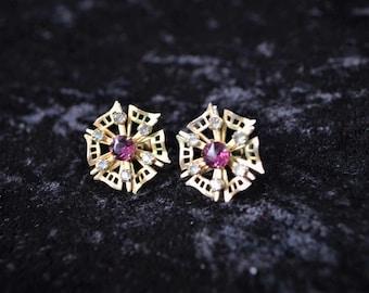 Snowflake Screw Back Earrings with Purple Rhinestones