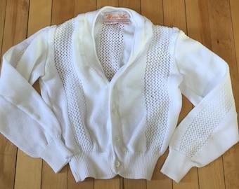 Vintage 1970s Girls White Knit Cardigan Sweater! Size 6-7