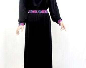 Vintage Louis Feraud 1970's 80's Black Long Sleeve Maxi Dress Size 10 - 12