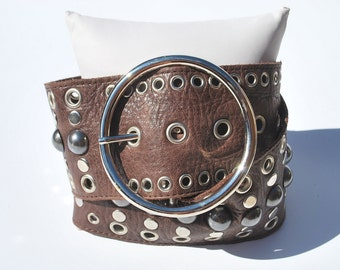 Vintage Brown Wide Soft Stud Studded Small
