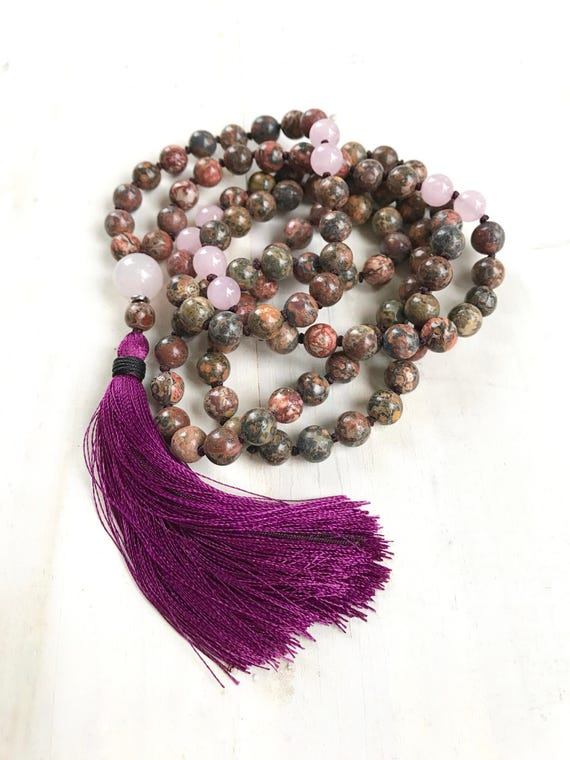 Mala Beads For Strength, Leopard Skin Jasper Mala Necklace, Rose Quartz Mala, 108 Bead Silk Tassel Mala, Yoga Meditation Beads