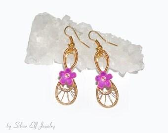 Golden Spring Earrings, flower earrings, wire wrapped earrings, dryad earrings, dangling earrings, elegant flowers, Spring earrings
