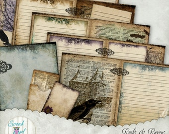 """Book of Shadows Pages, Gothic, Journal Pages 5"""" X 7"""", Printable Journal, Paper Craft Supplies, Scrapbooking - 'Rooks & Ravens'"""