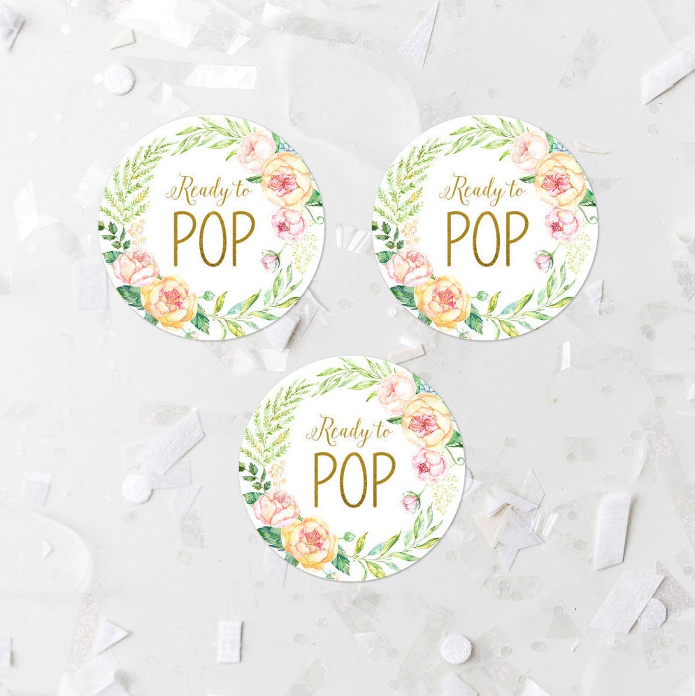 Pink floral ready to pop favor label printable baby shower for Ready to pop stickers template