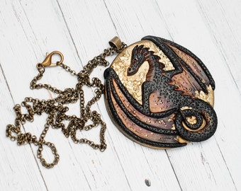Fantasy Dragon Medallion Pendant - MADE TO ORDER - Fantastic Dragons Jewelry