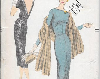 Vintage 1950s Vogue Sewing Pattern 8993 - Misses' One Piece Dress size 14 bust 34 uncut