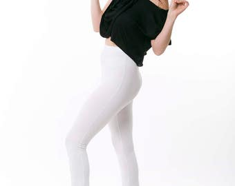 White Leggings, womens pants, tights, high waisted pants , Three Quarters   sizes : XS / S / M / L / Xl