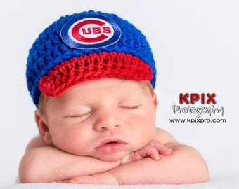 Chicago Cubs Baseball Hat for newborn baby boy or girl - preemie sizes available