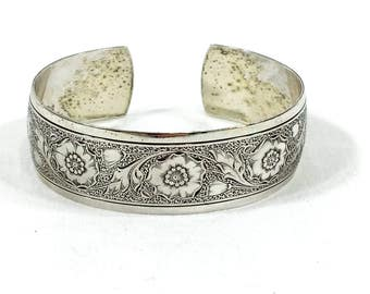 Sterling Silver Stamped Cuff Bracelet, Art Nouveau Cuff Bracelet, Danecraft Jewelry, 1960s, Vintage Jewelry