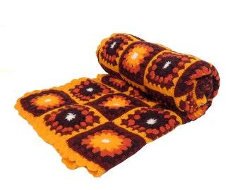 Vintage 70s Neon Orange Granny Square Afghan Blanket 76 x 58