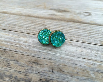 Green Druzy Earrings, Faux Druzy Earrings, Bronze Druzy, Stud Earrings, Gifts for her